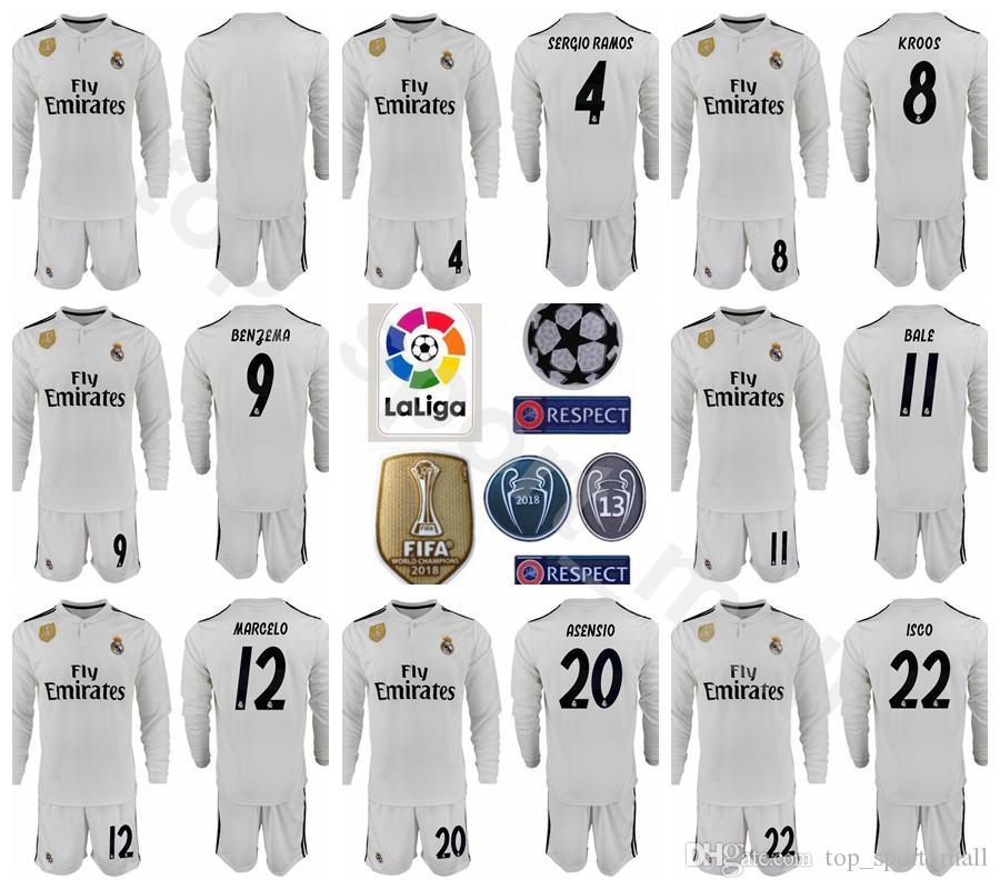 promo code 83aa3 b5015 2018 2019 La Liga Soccer Long Sleeve Real Madrid ASENSIO Jersey Set Men  RAMOS MODRIC ISCO BENZEMA KROOS MARCELO Football Shirt Kits Uniform