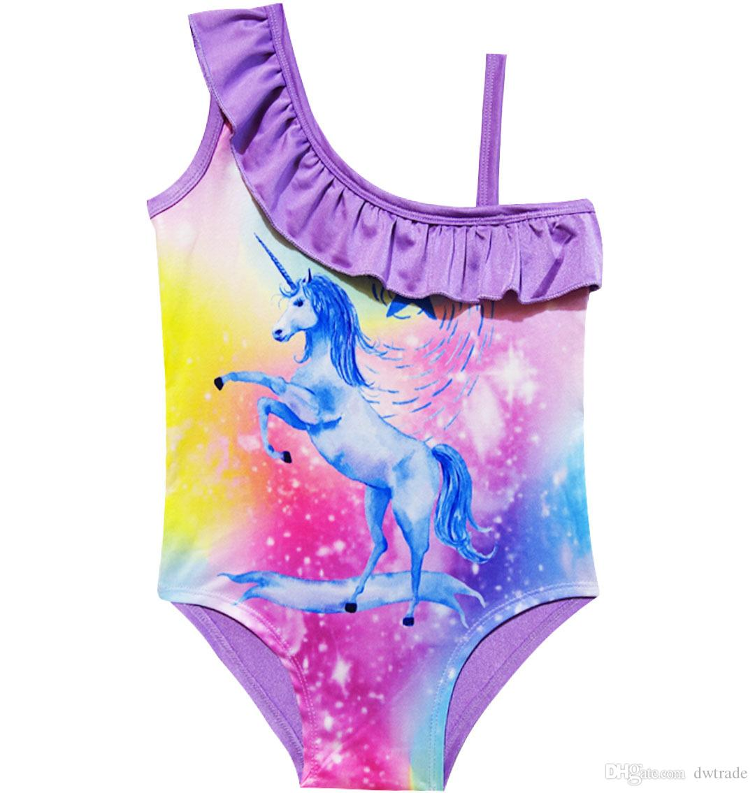 2018 Unicorn Good Pattern Printed One Sholder Sling One-piece Swimsuit Baby Girl Clothes Pink Lace Bra Briefs Beach Swimwear Kids Clothing