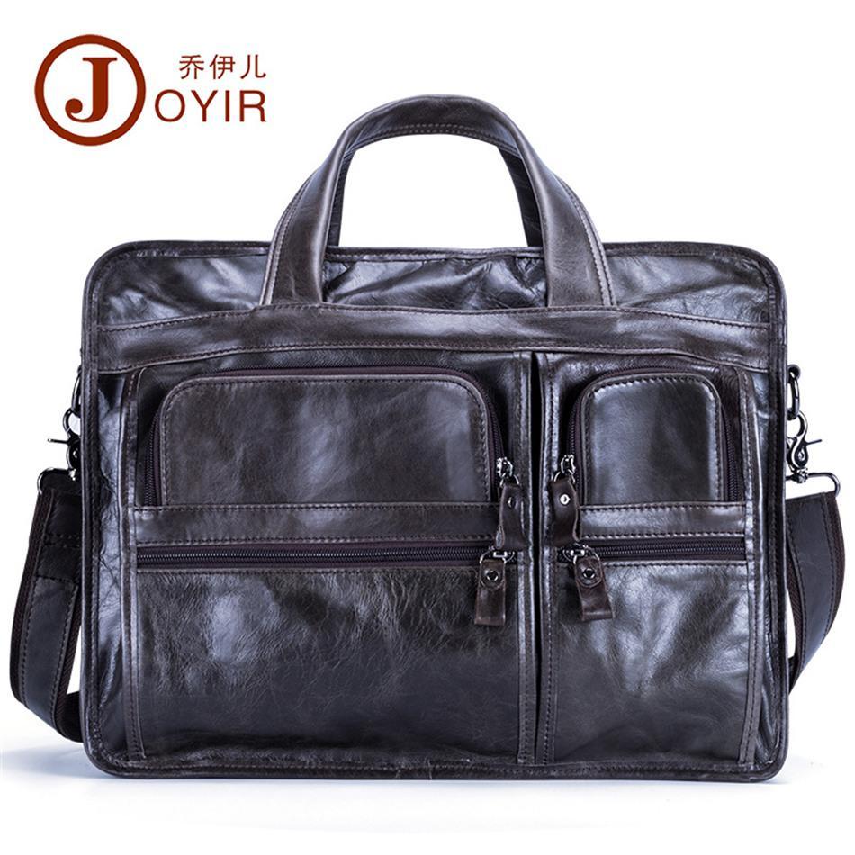 Joyir pasta de couro de vaca dos homens de alta qualidade ocasional tote oleoso couro laptop bag masculino cross body bag negócio messenger bags