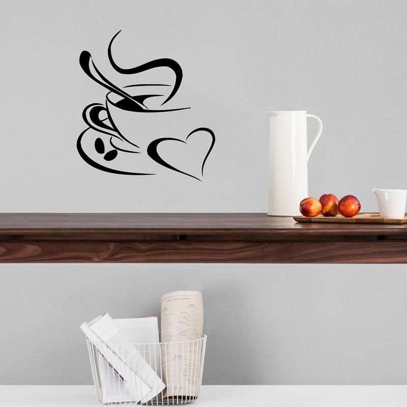 cup shaker kitchen wall sticker coffee , coffee cup with heart