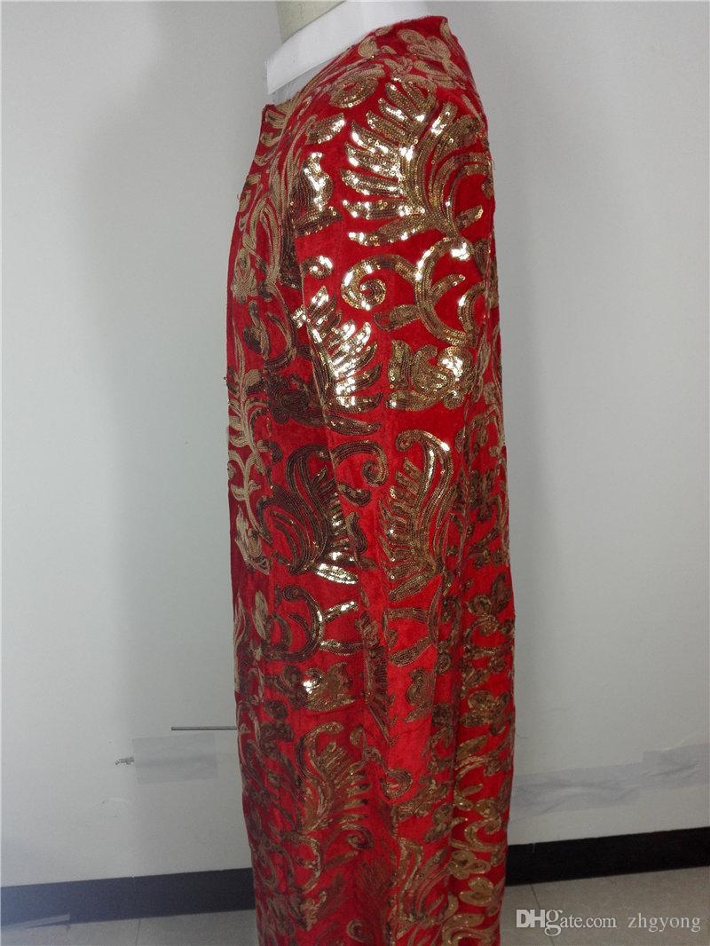 Sparkly Sequins Outfit Veste Longue Rouge Mode Homme Mince Long Manteau Vêtement D'extérieur Bar Phase De Bal DS Costumes Vêtements de performance de groupe