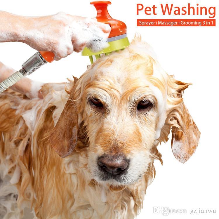 Pet Dog Dog Massage Doccia Sprinkler Pet Combs Bagno cani Articoli la bellezza Articoli animali domestici