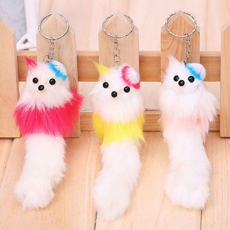 New Faux Rabbit Fur Keychain For Handbag Car Key Ring Cute Fox ... 31d98757906a