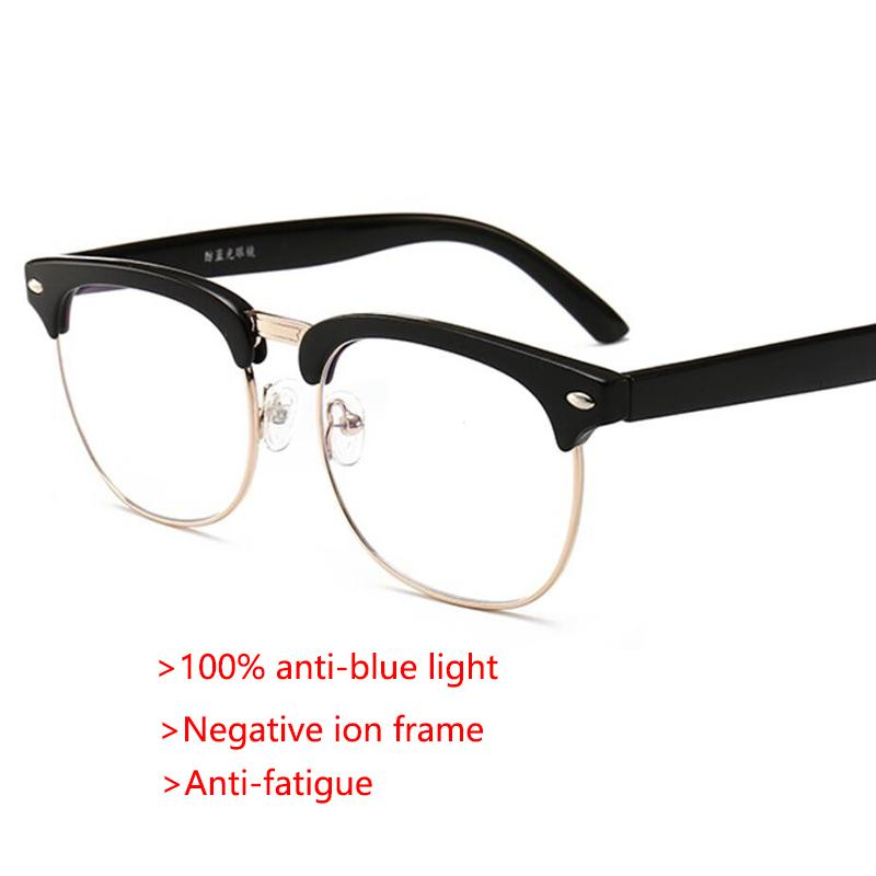 100Anti Blue Monture Négatifs Lunettes Ordinateur Luxe Ions Ray Optique Demi Hommes Mode Fatigue srhQtd