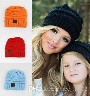 afe9fb82bab 2019 Wholesale Mum Baby Toddler Kids Boys Girls Knitted Caps Cute Hats  Crochet Winter Warm Hat Cap Mum Baby From Free life02