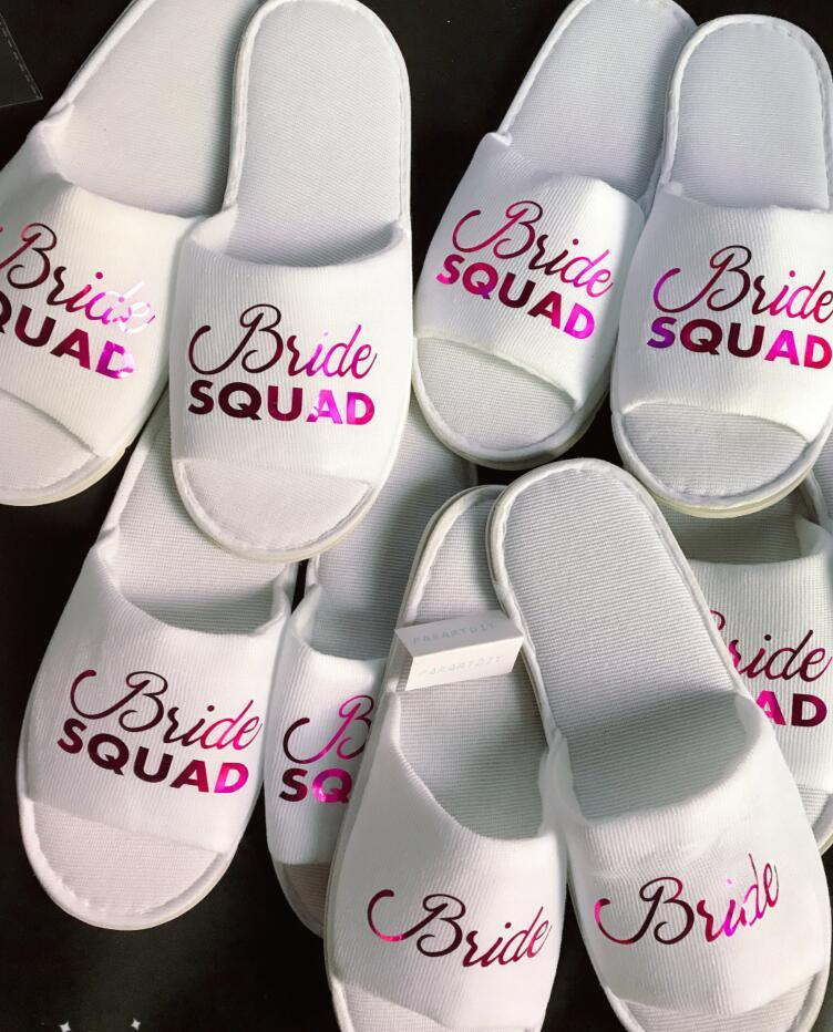 f74f01c9be6 Personalize Hot Pink Team Bride Squad Wedding Bridesmaid Spa Soft Open Toe  Slippers Hen Night Bachelorette Party Favors Gifts Gifts For Guest At A  Wedding ...