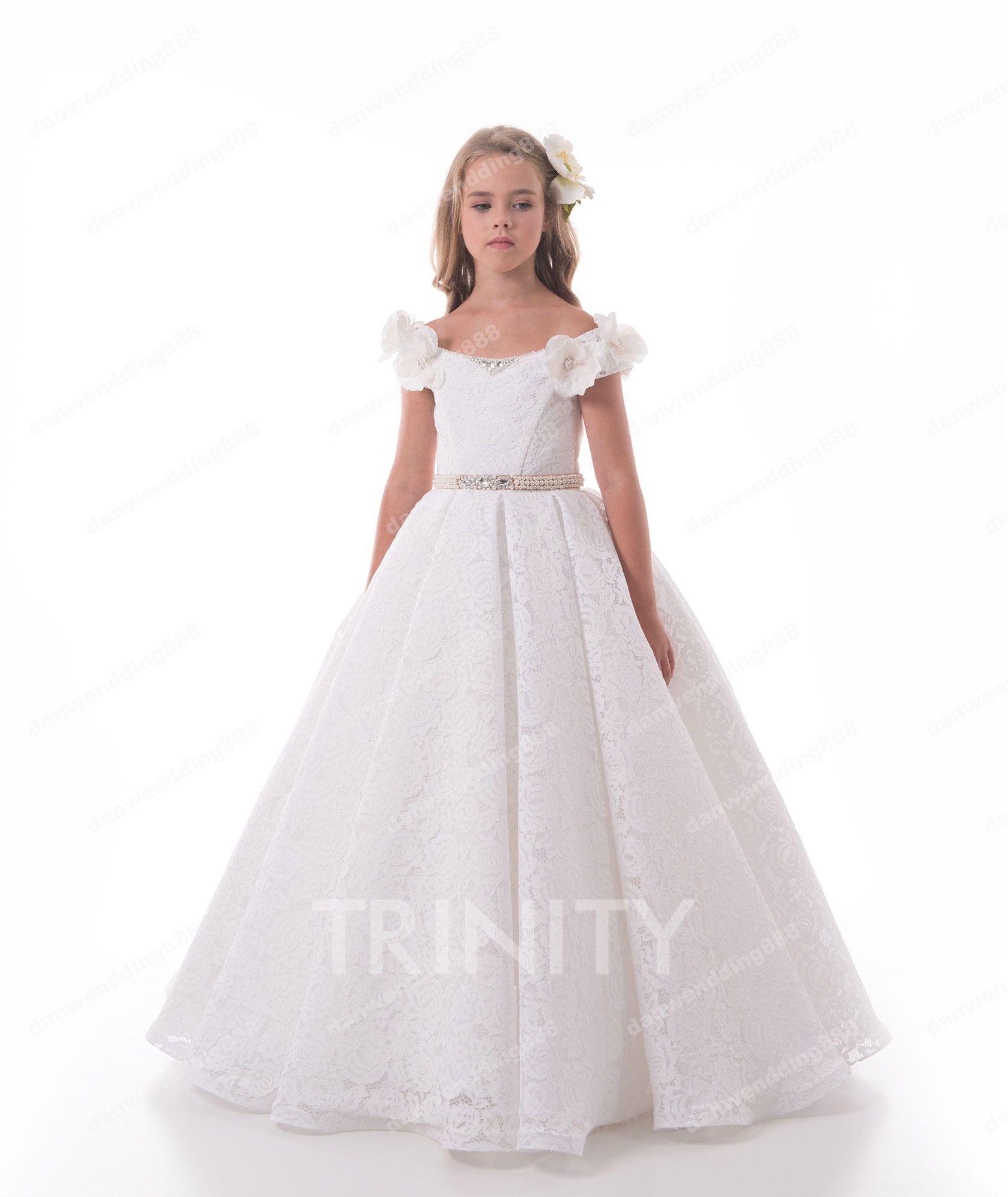 73b9330d5 Beauty White Lace Scoop Sash Flower Girl Dresses Princess Dresses ...