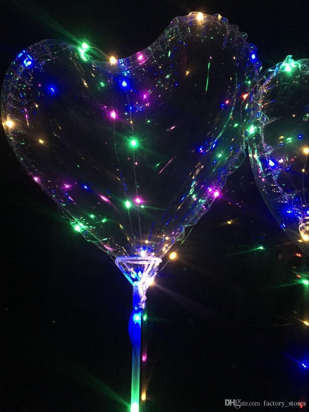 Love Heart Shape LED Light BoBO Ball Luminous Transparent 3 Meters Balloon with Pole and Battery Box for Valentines Day Wedding Party Gift