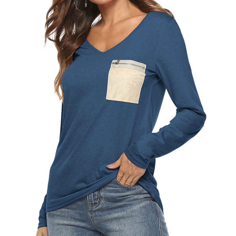 Sequin Pockets Women T Shirt Zipper Autumn T Shirts Tops Casual Long Sleeve  V Neck Lady Tee Shirts Basic T Shirt Plus Size GV013 Thirts Og T Shirt From  ... d484314f0350