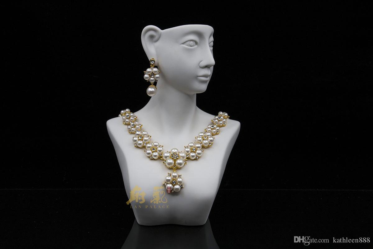 2016 yeni düğün afrika boncuk benzetilmiş İnci takı seti altın renk parure de bijoux kolye saplama küpe