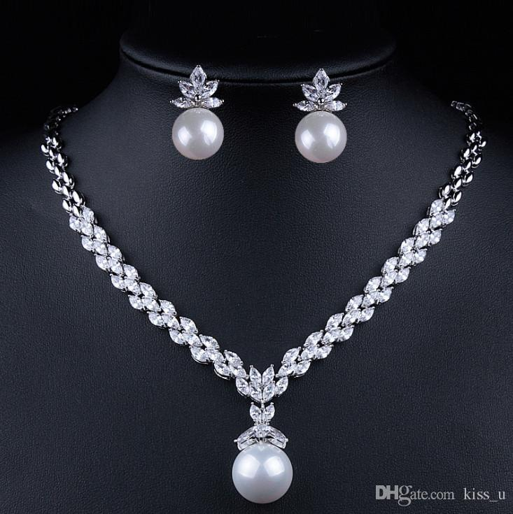 90d7ac21b5 2018 Imitation pearls Bridal Jewelry sets for Women Silver Color Luxury  Zircon Necklace earring Sets Wedding Jewelry