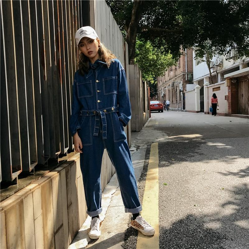 32411155991 2019 2018 Fashion Safari Style Long Romper Pants For Women Denim Jeans Long  Sleeve Jumpsuits And Rompers With Belt S L From Eventswedding