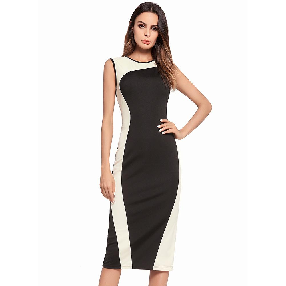 c60dee30e5596 2019 Luote Casual Women Sleeveless Office Business Pencil Work Dresses  Stretch Summer Dresses Slim With Package Buttocks Side Zipper Back V Neck  From Luote