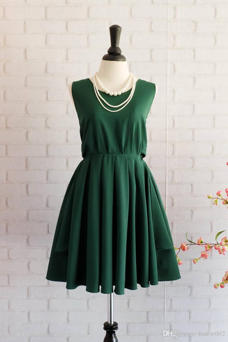 Forest Green short party dresses mini cocktail dress sexy backless homecoming dress real simple short bridesmaid dresses plus size