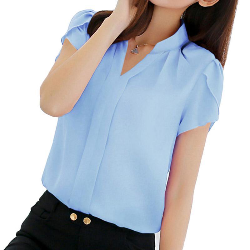 9c9f50bae49b2 Compre 2018 Mulheres Camisa Chiffon Blusa Femininas Tops De Manga Curta  Senhoras Elegantes Blusa Escritório Formal Plus Size 3XL Camisa Chiffon  Roupas De ...