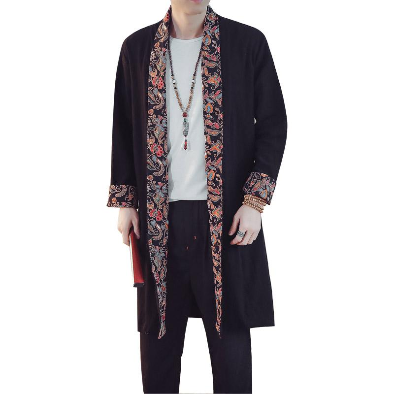 2019 Chinese Style Men Cotton Linen Cardigan Trench Coat Male Casual Loose  Long Jacket Overcoat From Edward03 31f069788