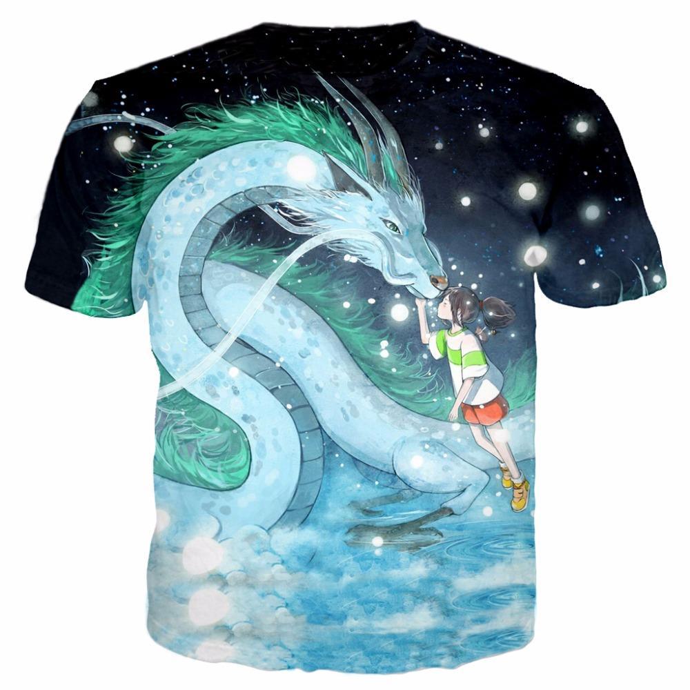 1d139bb5a65e Anime Spirited Away Dragon & Girl Newest Fashion Men/Women Tops 3d Printing  T Shirt Unisxe Funny Short Sleeved Tees 3D T Shirt N43 Themed Shirts Latest  T ...
