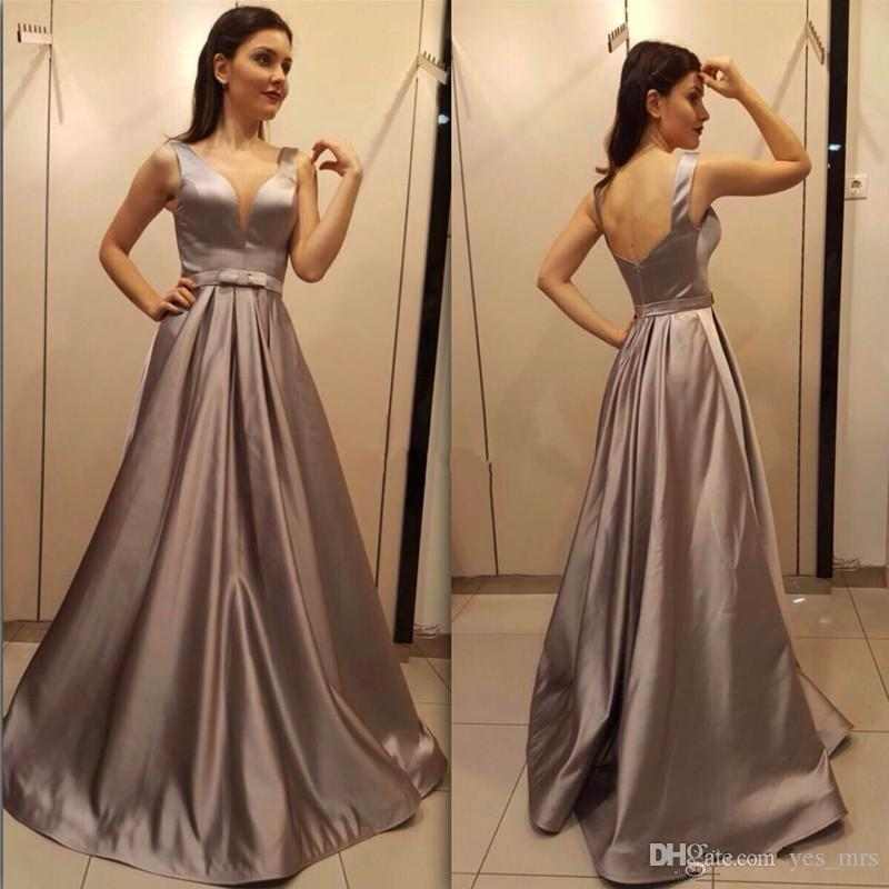 d74f87c24d32 2018 Evening Dresses Wear Arabic Chocolate V Neck Sleeveless Sashes Ruched  Draped Backless Floor Length Long A Line Vestido Party Prom Gowns Knee  Length ...