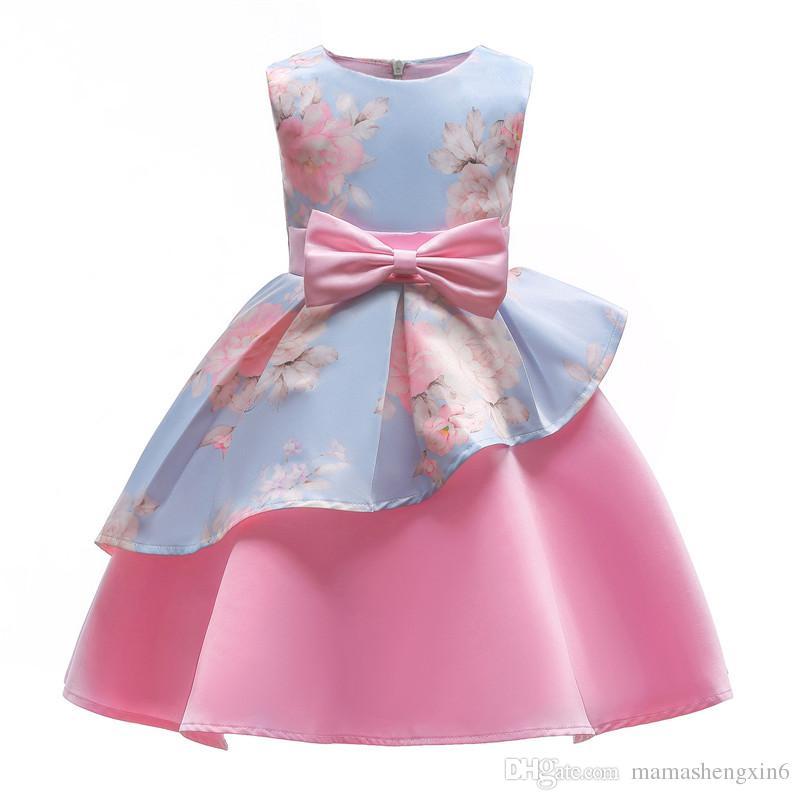 cea1c92ac Compre Nueva Primavera Verano Irregular Niñas Vestido Péndulo Impresión Niños  Vestido Completo Niños Princesa Bow Vestidos De Fiesta A  24.52 Del ...
