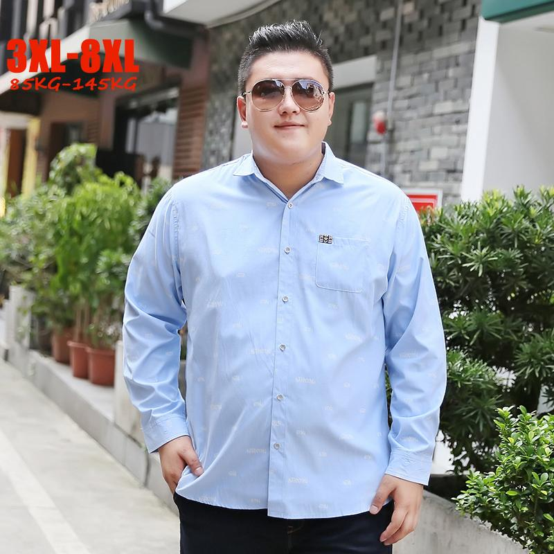2018 Autumn New 5XL 6XL 7XL 8XL Shirts Men Casual plus size men shirts Full Sleeve 3XL-8XL for 85kg-145kg Big