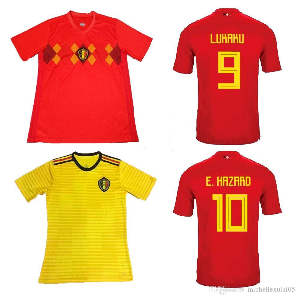 f68bb3e9023 2019 Belgium Home Red Soccer Jersey 18 19 LUKAKU FELLAINI E.HAZARD Football Tops  Belgium 2018 World Cup Away Yellow Football Uniforms Soccer Wear From ...