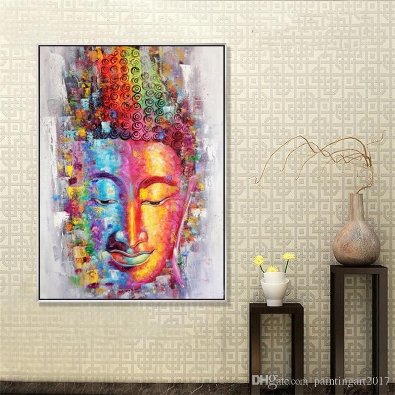 El yapımı Buda Tuval Boyama Resim Duvar Sanatı Ev Dekorasyon El Boyalı Modern Soyut Yağ Hediye Çerçevesiz