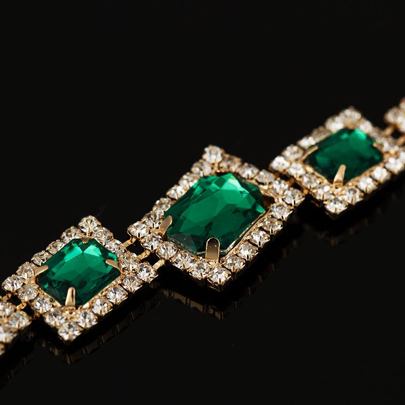Chran Designer Nouveau Luxe Cristal Bracelets De Mariage Pour Les Femmes Or Mariée Bracelet Vert Demoiselle D'honneur Bracelet Bijoux