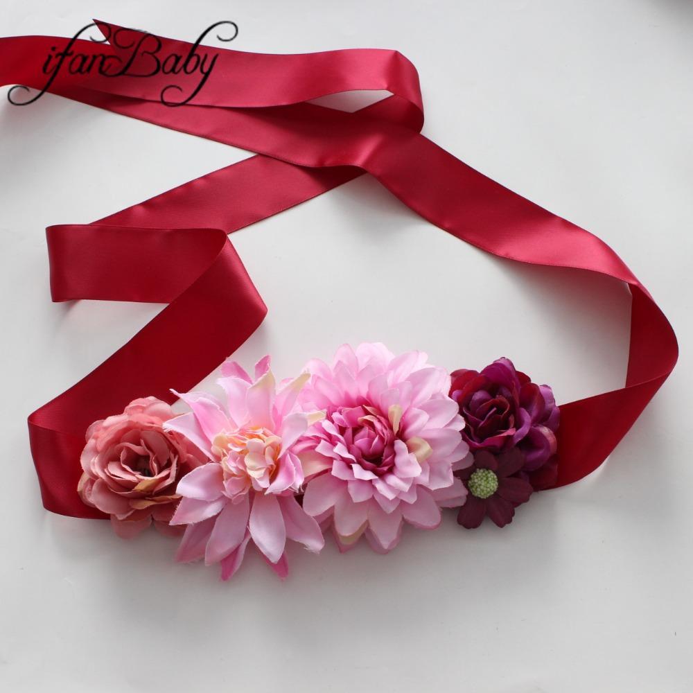 3dc1343f Cinturón de flores de moda para mujeres de niña Cinturón de marco floral  artificial Maternidad