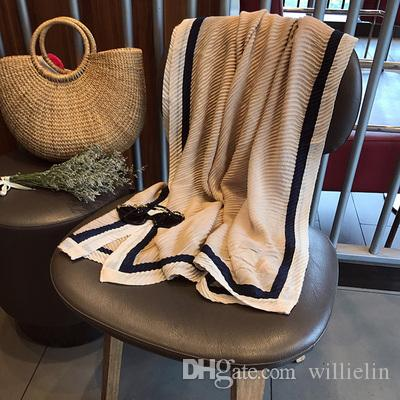 Spring and summer scarf female new style han fan crimping spring sun protection cotton linen shawl holiday travel gauze.