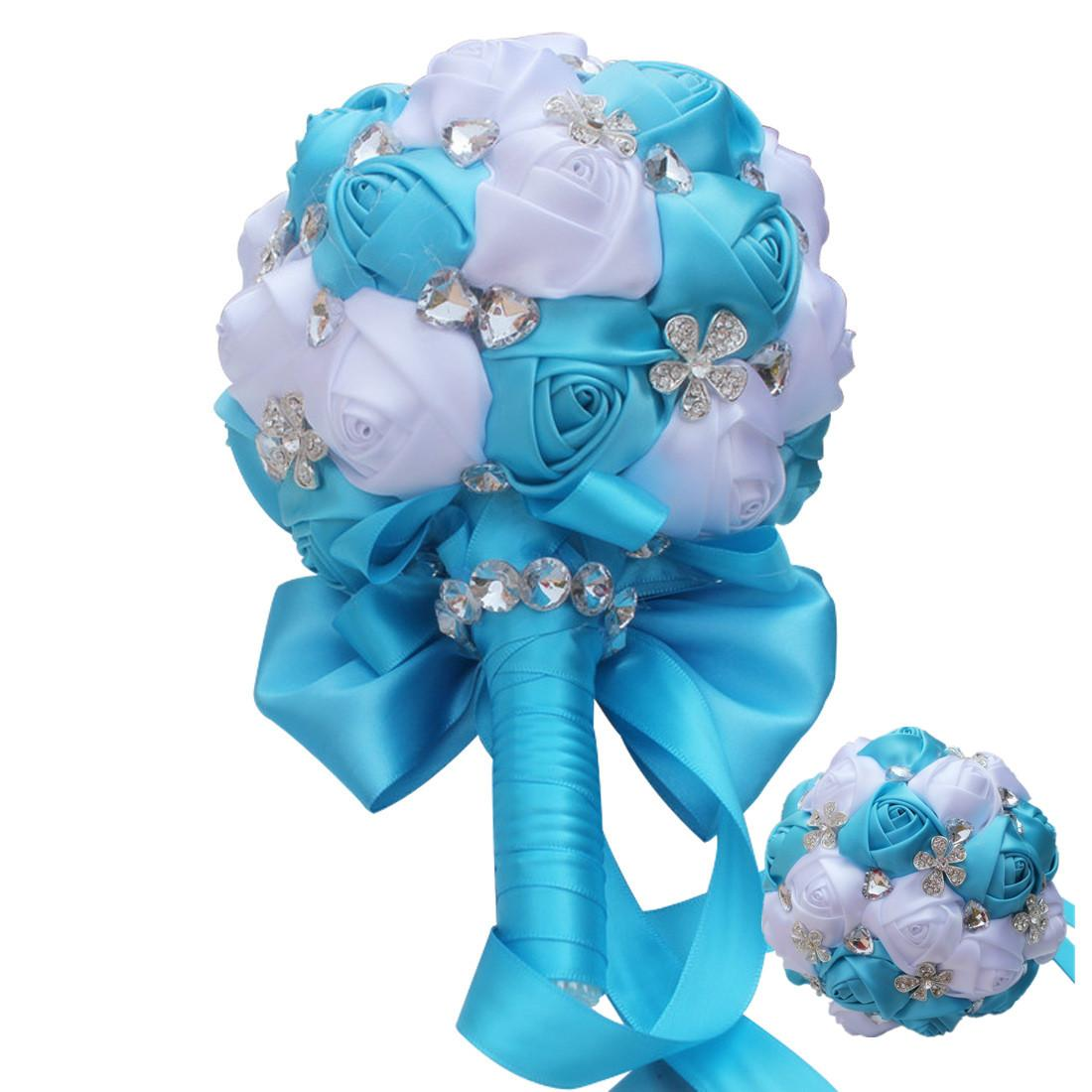 Mixed Blue White Rose Round Ball Wedding Bouquets Flower Diamond Crystal Jewelry Ornament Bridal Bridesmaid Stitch Bouquets Q245