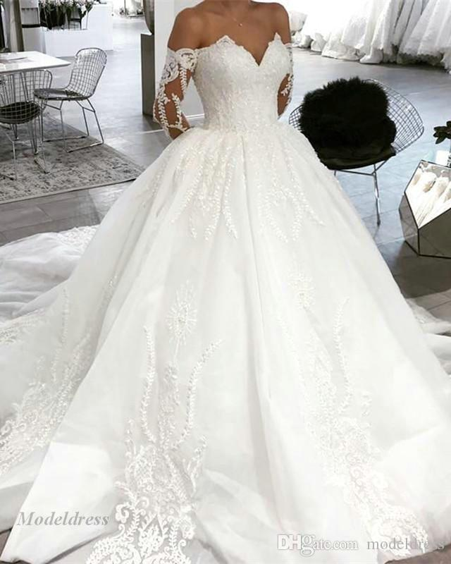 0a92940229be Discount White Long Sleeve Wedding Dresses A Line Off The Shoulder Tops  Special Design Lace Appliques Sweep Train Tulle High Quality Wedding Gowns  White ...