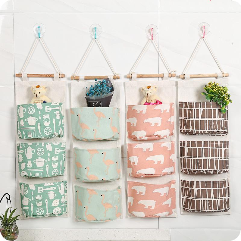 Online Cheap New Cotton Fabric Wall Hanging Storage Bag For Organizer Sundry Storage Pocket For Decoration Kitchen Bathroom Living Room By Topprettymall ... & Online Cheap New Cotton Fabric Wall Hanging Storage Bag For ...