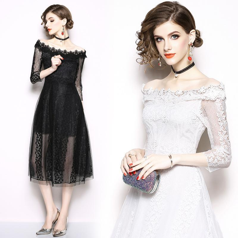 80e78823c9c Sexy Lace Off Shoulder Dress Party Long Evening Dresses Vestidos ...