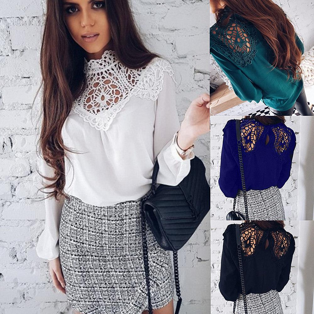 90bcc230fed Women Autumn Sexy Mesh Tops Round Neck T Shirt Fashion Lace Patchwork  Hollow Out T Shirts Long Sleeve Sweater Femme Blusas Chiffon Blouse Shirt  Designs Best ...
