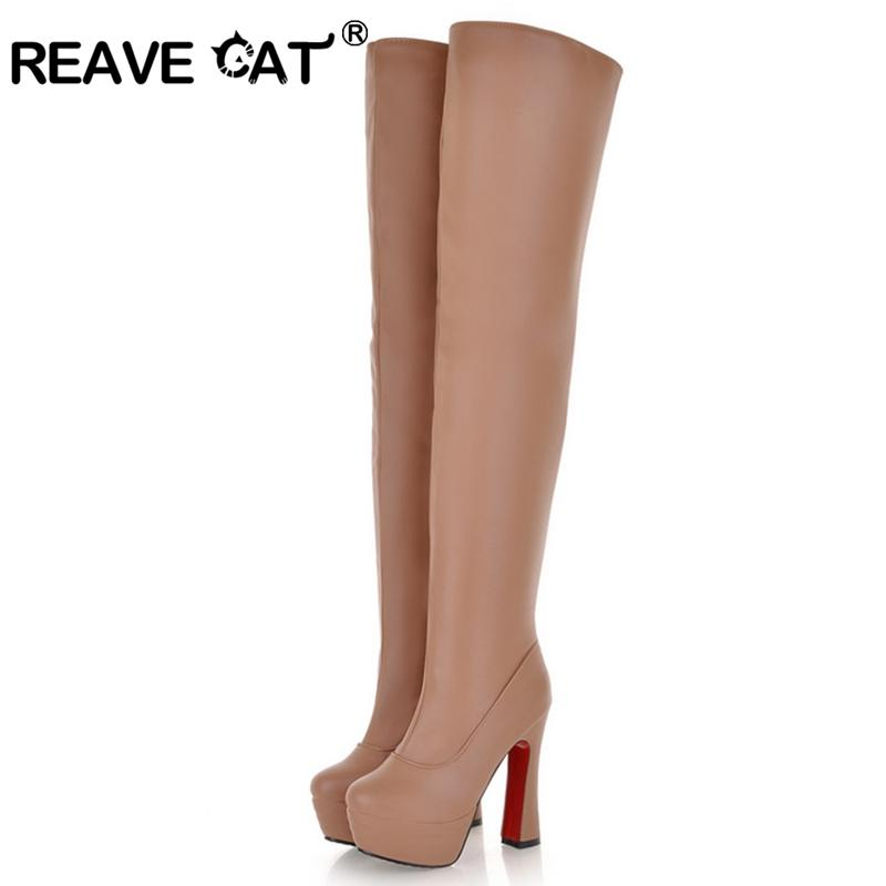 on sale a04a5 cce82 REAVE CAT Schuhe Frauen High Heels Damen Overknee Stiefel Plattform Hoof  Heels Fashion Sexy Herbst Winter Schuhe Sexy QL3977