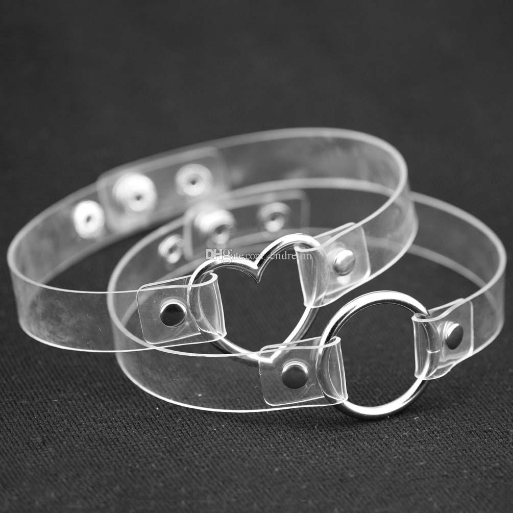Metallo Love Heart O Ring Girocolli Collana Bondage PU Collare con collo trasparente donne Ragazze schiaffo Giocare girocolli Gioielli Drop Shiping