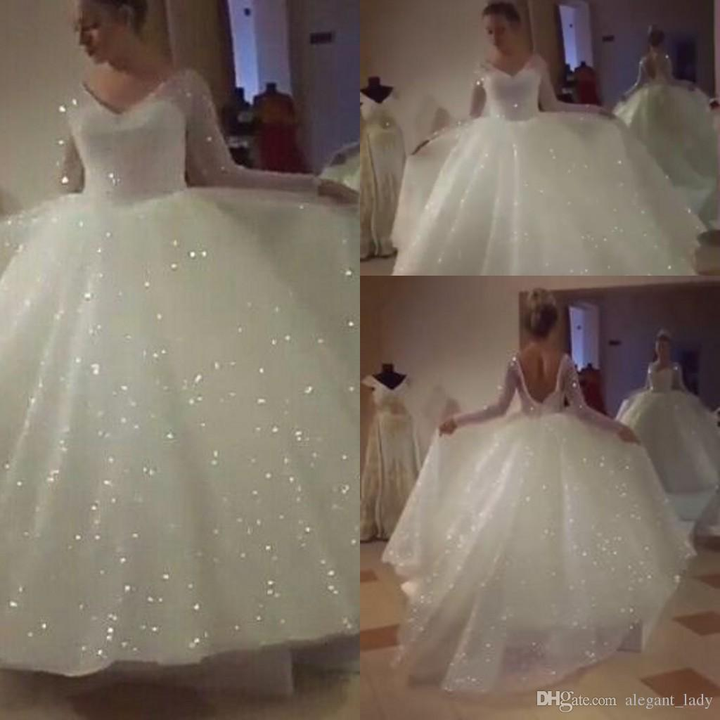 Glitter Wedding Gowns: Discount Glitter Wedding Dresses With Long Sleeve 2018 V