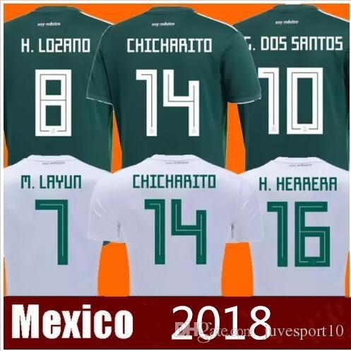 1ea289483c2 2019 2018 World Cup Mexico CHICHARITO Soccer Jersey G.DOS SANTOS R.MARQUEZ Home  Green Away Hernandez 18 19 Mexico Football Shirt From Juvesport10