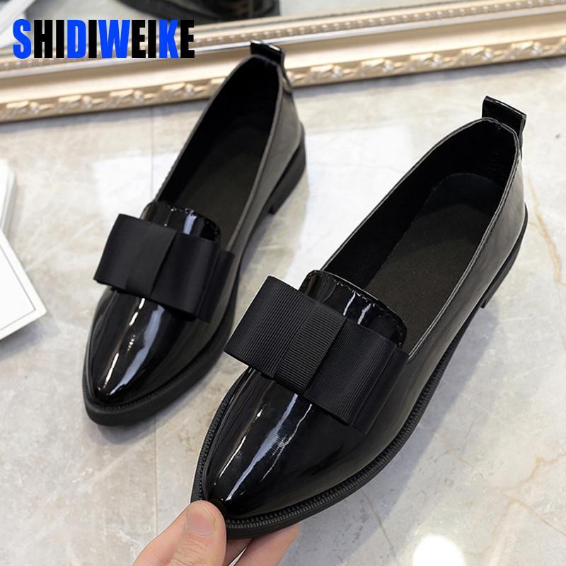 Compre Shidiweike Clásico Zapatos De Marca Mujeres Casual Punta Estrecha  Zapatos Oxford Negro Para Mujeres Pisos Cómodo Resbalón En B971 A  22.28  Del ... 33d177b556b1