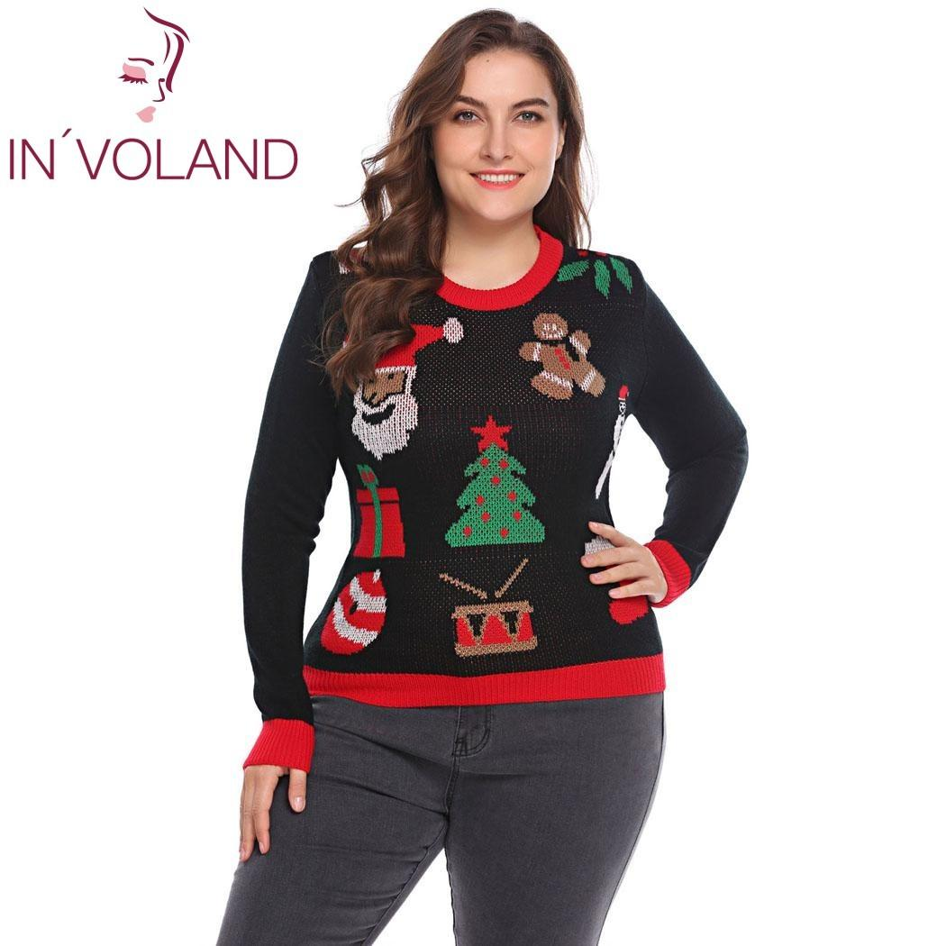 e20e7c8123 IN VOLAND Plus Size Women Knit Sweater Tops XL 5XL 2018 Spring Autumn  Christmas Santa Pattern Large Pullover Jumper Oversized C18110601 UK 2019  From ...