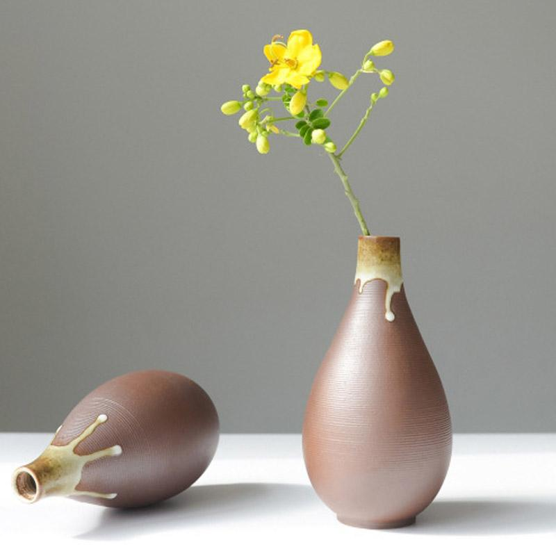Handmade Ceramic Vase Home Decor Retro Tabletop Vases For Flowers