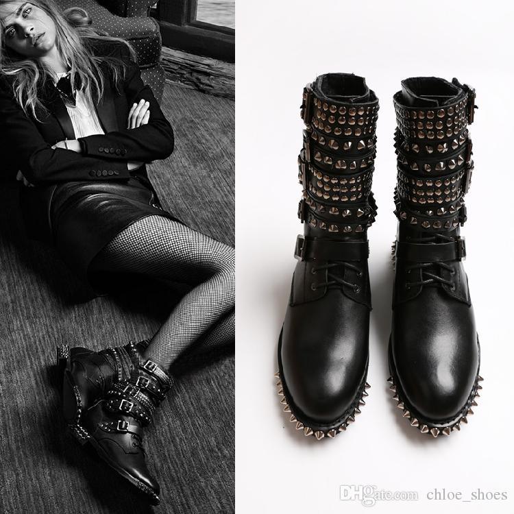 best value huge sale sells Full Grain Leather Spikes Stud Boots for women Punk Style New Brand  Designer Ladies Martin Boot