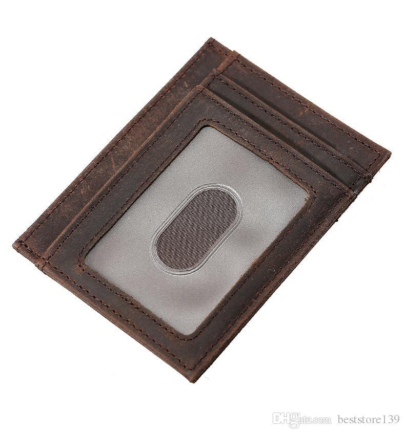 0c2384117db8 Men Crazy Horse Cowhide Genuine Leather Ultra Slim Rfid Blocking Front  Pocket Cash Money Clip Thin Minimalist Wallet