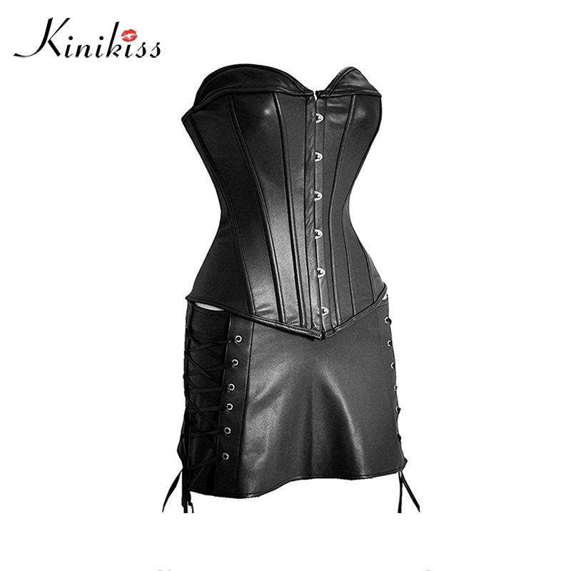 037cbec37d 2019 Kinikiss Women S Sexy Steampunk Gothic Corset Faux Leather Lace Up Corset  Black Plus Size Overbust Corsets And Bustiers From Avive