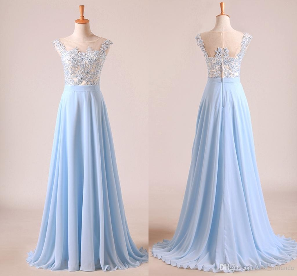 3a62c2ffa Compre Vestidos De Fiesta Elegantes Y De Color Azul Claro Celeste Cuello  Transparente Mangas Apliques Gasa Hasta El Suelo Vestidos Formales Vestidos  De ...