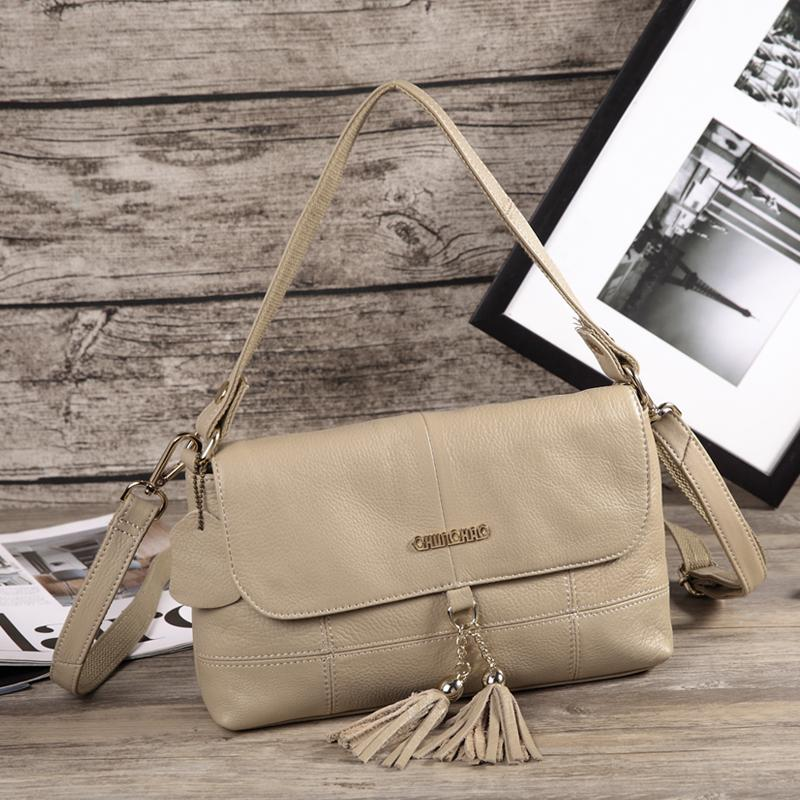 Fashion Colors 100% Soft Genuine Leather Tassel Women's Handbag Ladies Shoulder Bags Messenger Satchel Crossbody bag
