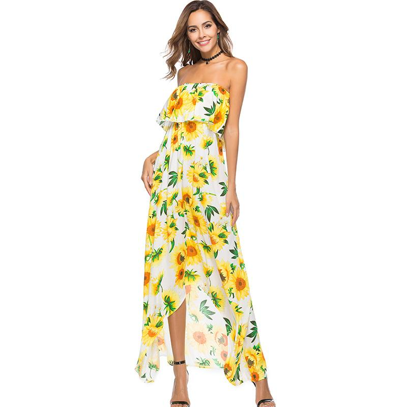 a1ce3c6c2efdf Boho Style Long Dress Women Off Shoulder Beach Summer Floral Print Vintage  Chiffon Dresses Wrapped Chest Slash Nec Sleeveless Sexy Dress Denim Dress  From ...