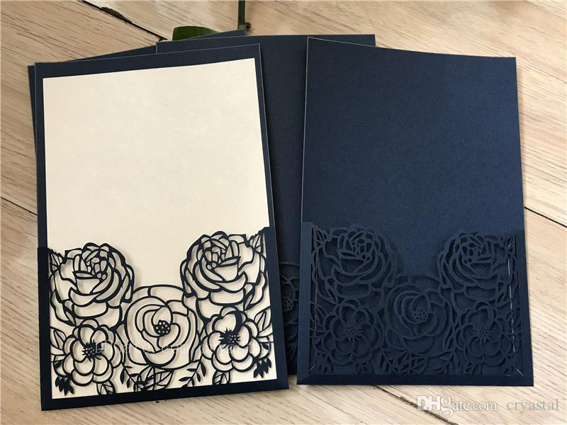 Dark Blue Wedding Invitations: Linen Dark Navy Blue Laser Cut Wedding Invitations Cards
