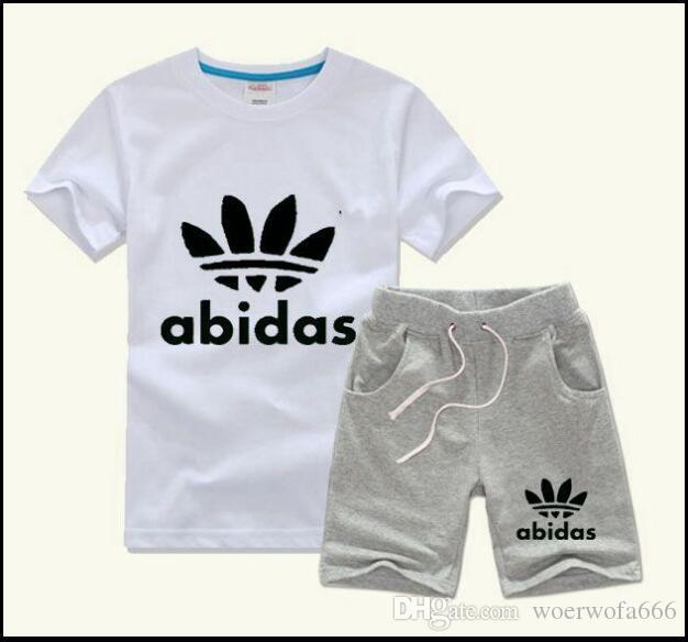 5bd44f04f AD HOT SELL New Style Children's Clothing For Boys And Girls Sports Suit Baby  Infant Short Sleeve Clothes Kids Set 2-13 Age
