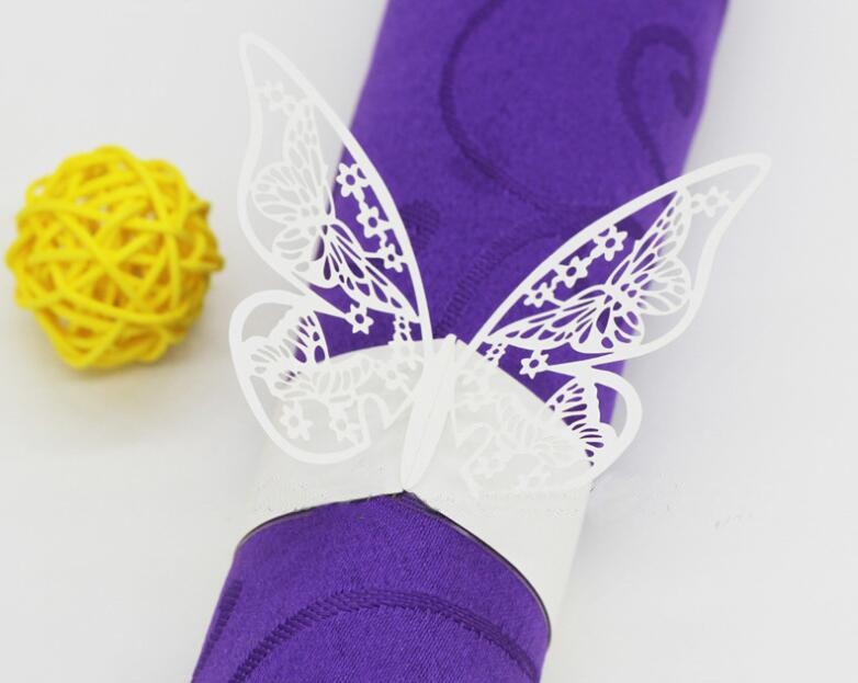 Laser Cut Napkin Ring Paper Wedding Decorations Beautiful Butterfly design Towel Buckle for Party Table Decoration